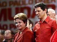 ATENÇÃO EDITOR: FOTO EMBARGADA PARA VEÍCULOS INTERNACIONAIS. SAO PAULO, SP, 20 DE OUTUBRO DE 2012.  ELEIÇAO 2012 SAO PAULO - 2 TURNO -FERNANDO HADDAD.  O candidato do PT a prefeitura de Sao Paulo,  Fernando Haddad e a presidenta Dilma Rousseff durante comicio no Ginasio da Portuguesa, na noite deste sabado, na zona norte da capital paulista. FOTO ADRIANA SPACA - BRAZIL PHOTO PRESS