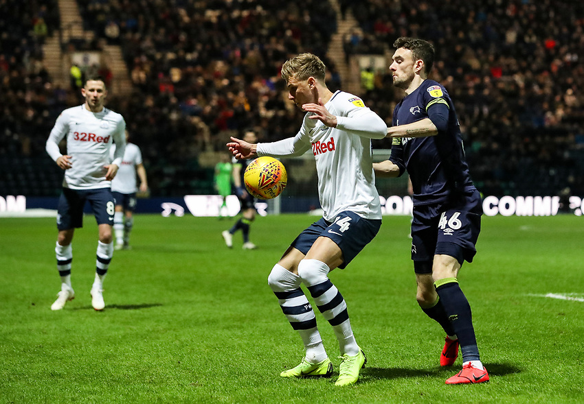 Preston North End's Sean Maguire competing with Derby County's Scott Malone  <br /> <br /> Photographer Andrew Kearns/CameraSport<br /> <br /> The EFL Sky Bet Championship - Preston North End v Derby County - Friday 1st February 2019 - Deepdale Stadium - Preston<br /> <br /> World Copyright © 2019 CameraSport. All rights reserved. 43 Linden Ave. Countesthorpe. Leicester. England. LE8 5PG - Tel: +44 (0) 116 277 4147 - admin@camerasport.com - www.camerasport.com