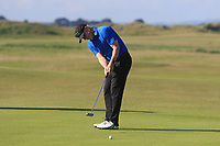 Karl Bornemann (Douglas) on the 1st green during Round 2 of the East of Ireland Amateur Open Championship 2018 at Co. Louth Golf Club, Baltray, Co. Louth on Sunday 3rd June 2018.<br /> Picture:  Thos Caffrey / Golffile<br /> <br /> All photo usage must carry mandatory copyright credit (&copy; Golffile | Thos Caffrey)