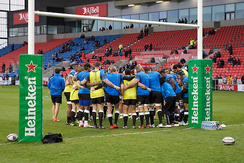 08.04.2016. AJ Bell Stadium, Salford, England. European Champions Cup. Sale versus Montpellier. Montpellier huddle pre warm up.