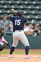 Charleston Riverdogs Canaan Smith (15) bats during the game with the Hickory Crawdads at L.P. Frans Stadium on May 12, 2019 in Hickory, North Carolina.  The Riverdogs defeated the Crawdads 13-5. (Tracy Proffitt/Four Seam Images)