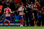 Diego Costa (L) and coach Diego Pablo Simeone of Atletico de Madrid have words during UEFA Champions League match between Atletico de Madrid and Juventus at Wanda Metropolitano Stadium in Madrid, Spain. September 18, 2019. (ALTERPHOTOS/A. Perez Meca)