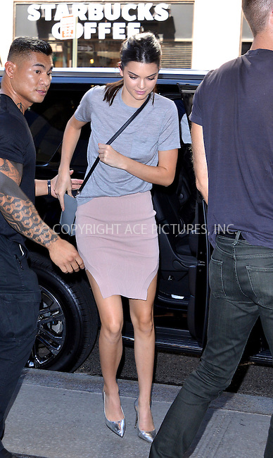 WWW.ACEPIXS.COM<br /> <br /> September 16 2015, New York City<br /> <br /> Kendall Jenner arrives at a downtown hotel on September 16 2015 in New York City<br /> <br /> By Line: Curtis Means/ACE Pictures<br /> <br /> <br /> ACE Pictures, Inc.<br /> tel: 646 769 0430<br /> Email: info@acepixs.com<br /> www.acepixs.com