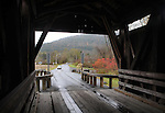 Detail image at Downsville Covered Bridge, (1854, restored 1998) that carries Bridge Street, over the East Branch Delaware River, Downsville, NY, on Thursday, October 23, 2014. Photo by Jim Peppler. Copyright Jim Peppler 2014.