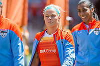 Houston, TX - Saturday May 13, Houston Dash forward Rachel Daly (3) enters the field during a regular season National Women's Soccer League (NWSL) match between the Houston Dash and Sky Blue FC at BBVA Compass Stadium. Sky Blue won the game 3-1.