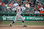 May 24, 2014; Stockton, CA, USA; Pepperdine Waves infielder Hutton Moyer (2) during the WCC Baseball Championship at Banner Island Ballpark.