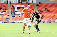 Blackpool's Jordan Thompson and Bradford City's Ryan McGowan<br /> <br /> Photographer Rachel Holborn/CameraSport<br /> <br /> The EFL Sky Bet League One - Blackpool v Bradford City - Saturday September 8th 2018 - Bloomfield Road - Blackpool<br /> <br /> World Copyright &copy; 2018 CameraSport. All rights reserved. 43 Linden Ave. Countesthorpe. Leicester. England. LE8 5PG - Tel: +44 (0) 116 277 4147 - admin@camerasport.com - www.camerasport.com