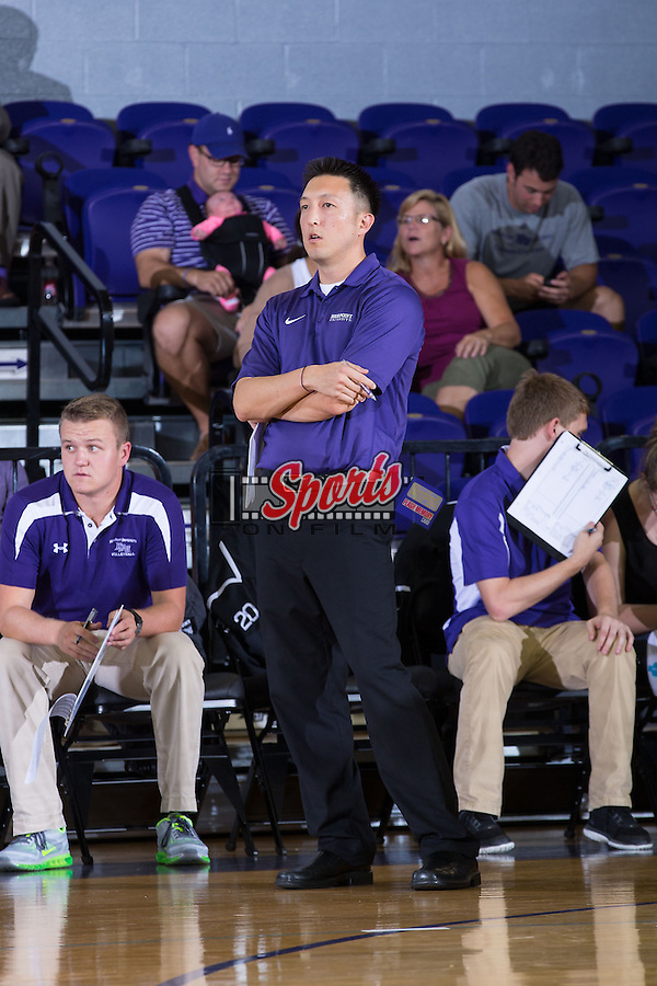 High Point Panthers assistant coach Jake Hong watches from the sidelines during the match against the UNC Greensboro Spartans at Millis Athletic Center on September 16, 2014 in High Point, North Carolina.  The Panthers defeated the Spartans 3-0.   (Brian Westerholt/Sports On Film)
