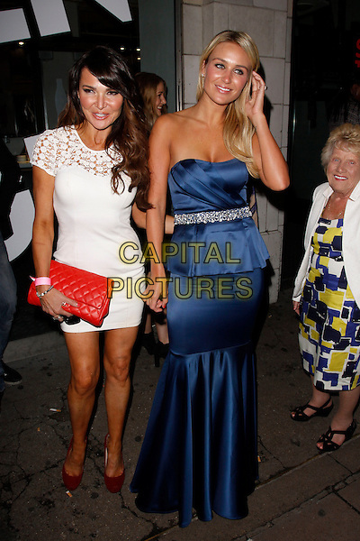 Lizzie Cundy, Alex Gerrard &amp; Nana Pat<br /> Lipsy VIP Fashion Awards 2013, DSTRKT, London, England.<br /> 29th May, 2013<br /> full length white lace dress blue strapless peplum silk satin dress belt blazer black yellow pattern tall short red clutch bag<br /> CAP/AH<br /> &copy;Adam Houghton/Capital Pictures