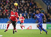 31st October 2017, Cardiff City Stadium, Cardiff, Wales; EFL Championship football, Cardiff City versus Ipswich Town; Dominic Iorfa of Ipswich Town looks to control the ball with Junior Hoilett of Cardiff City closing in