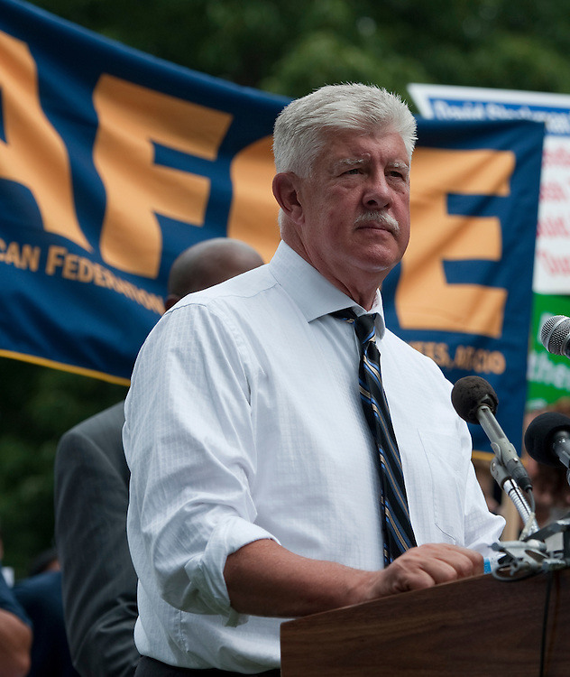 """UNITED STATES - JULY 28: John Gage, national president of the American Federation of Government Employees, speaks during the American Dream Movement rally on Thursday, July 28, 2011, to demand a debt deal that protects Social Security, Medicare and Medicaid """"while making millionaires and corporations pay their fair share."""" (Photo By Bill Clark/Roll Call)"""