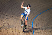 7th February 2019, Melbourne Arena, Melbourne, Australia; Six Day Melbourne Cycling; Tom Clarke of Australia celebrates his sprint win