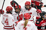 Wisconsin Badgers celebrate a goal during an NCAA women's college playoff ice hockey game against the St. Cloud State Huskies Saturday, March 2, 2013, in Madison, Wis. The Badgers won 4-1. (Photo by David Stluka)