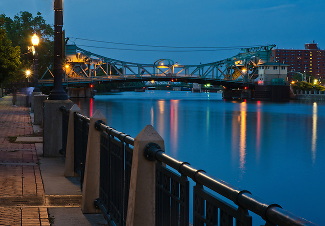 The Cass Street Bridge is seen at Twilight, Joliet, Illinois
