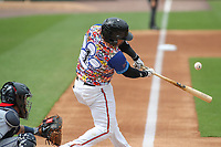 Bowie, MD - May 21, 2017: Bowie Baysox catcher Yermin Mercedes (1) hits the ball during the MiLB game between Binghamton and Bowie at  Baysox Stadium in Bowie, MD.  (Photo by Elliott Brown/Media Images International)