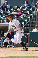 Jeff Cusick of the University of California at Irvine hitting during a game against James Madison University at the Baseball at the Beach Tournament held at BB&T Coastal Field in Myrtle Beach, SC on February 28, 2010.