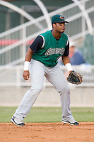 First baseman Angel Villalona (31) of the Augusta GreenJackets on defense at Fieldcrest Cannon Stadium in Kannapolis, NC, Friday August 22, 2008. (Photo by Brian Westerholt / Four Seam Images)