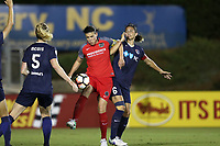 Cary, NC - Saturday April 22, 2017: Christine Sinclair (center) is defended by Abby Erceg (6) and Samantha Mewis (5) during a regular season National Women's Soccer League (NWSL) match between the North Carolina Courage and the Portland Thorns FC at Sahlen's Stadium at WakeMed Soccer Park.