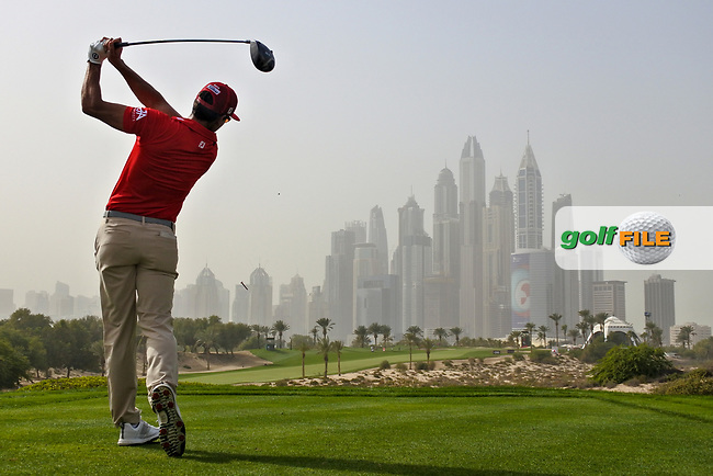 Rafa Cabrera-Bello (ESP) on the 8th tee during Round 1 of the Omega Dubai Desert Classic, Emirates Golf Club, Dubai,  United Arab Emirates. 24/01/2019<br /> Picture: Golffile | Thos Caffrey<br /> <br /> <br /> All photo usage must carry mandatory copyright credit (© Golffile | Thos Caffrey)