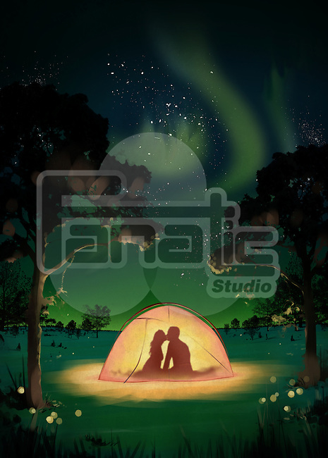 Illustration of couple kissing in tent at dawn