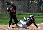 THOMASTON,  CT-041619JS12-Thomaston's Emma Kahn (1) safely steals third base in front of the tag by Watertown's Makayla Beauty (25) during their game Tuesday at Thomaston High School.<br />  Jim Shannon Republican American