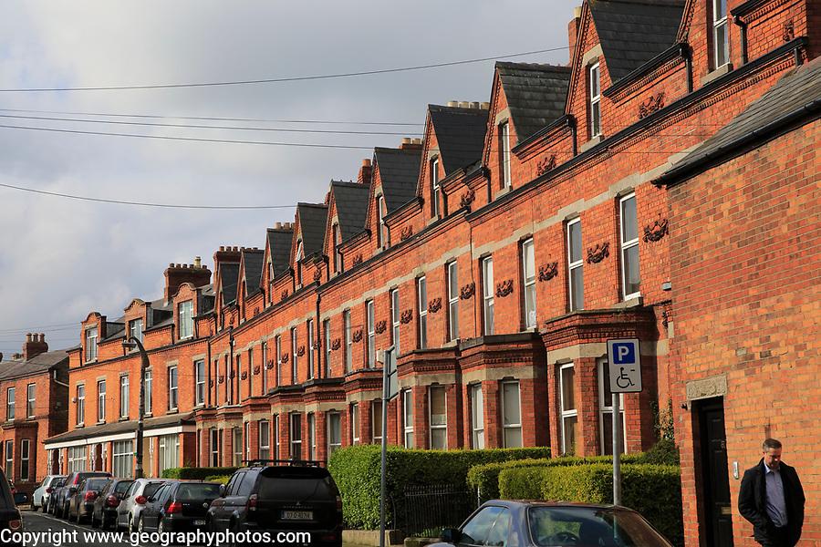 Red brick row of terraced housing, Ranelagh district, city of Dublin, Ireland, Irish Republic