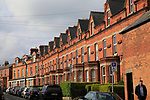 Red brick row of terraced housing, Ranelagh district, city of Dublin, Ireland, Irish Republic