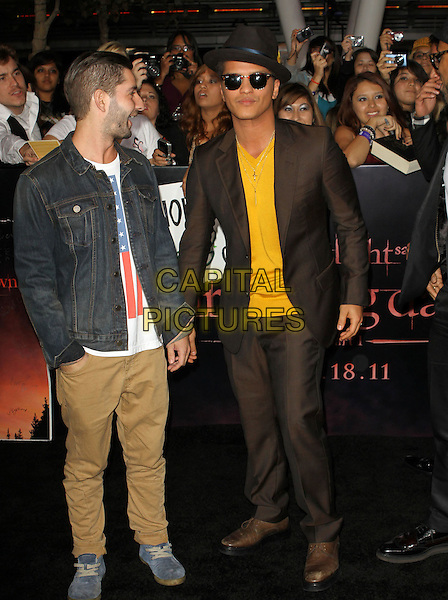 "Bruno Mars.""The Twilight Saga: Breaking Dawn Part 1"" Los Angeles Premiere Held At The Nokia Theatre L.A. Live, Los Angeles, California, USA, 14th November 2011..full length brown suit yellow t-shirt hat sunglasses jacket .CAP/ADM/KB.©Kevan Brooks/AdMedia/Capital Pictures."
