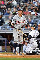 Apr 02, 2011; Bronx, NY, USA; Detroit Tigers infielder Brandon Inge (15) during game against the New York Yankees at Yankee Stadium. Yankees defeated the Tigers 10-6. Mandatory Credit: Tomasso De Rosa