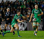 9th February 2018, Galway Sportsground, Galway, Ireland; Guinness Pro14 rugby, Connacht versus Ospreys; Craig Ronaldson plays the ball away for Connacht