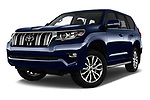 Stock pictures of low aggressive front three quarter view of 2018 Toyota Land-Cruiser-150 Premium 5 Door SUV Low Aggressive