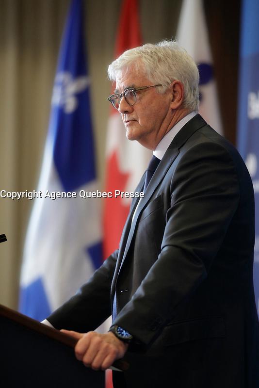 Lawrence Cannon<br /> , Canadian Ambassador in France speak,  May 28, 2017<br /> <br />  PHOTO  :   Agence Quebec Presse