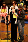 Julie Andrews and Derrick Baskin during Kid's Night On Broadway, join the gang at THE 25th ANNUAL PUTNAM COUNTY SPELLING BEE on stage as guest spellers at The Circle In The Square Theatre in New York City.<br />