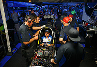 Jul 21, 2017; Morrison, CO, USA; Crew members with NHRA top fuel driver Shawn Langdon during qualifying for the Mile High Nationals at Bandimere Speedway. Mandatory Credit: Mark J. Rebilas-USA TODAY Sports