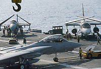 - combat aircrafts on the bridge of Kennedy aircraft carrier....- aerei da combattimento sul ponte della portaerei Kennedy