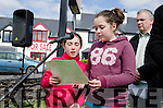 A GARDEN TO REMEMBER:  Caherdaniel National School pupils Poppy Smith and Amy O'Connor read their interpretation of the proclamation at the launch of the seven tree Garden of Remembrance  in Castlecove designed to play tribute to the seven signatories of the original 1916 proclamation.