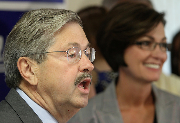 Republican candidate for governor Terry Branstad names state Sen. Kim Reynolds, of Osceola, right, as his running mate Thursday, June 24, 2010, elevating the southern Iowa freshman legislator to the statewide political stage.