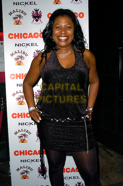 "BRENDA EDWARDS.Attending the ""Chicago"" Musical Cast Change After Party at Punk Bar,London, England, Ju;y 9th 2007..half length black tunic dress leggings belt .CAP/CAN.©Can Nguyen/Capital Pictures"