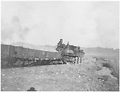 3/4 partially obstructed fireman's-side view of D&amp;RG #401 at rear of work train near East Portal Gunnison water tunnel.<br /> D&amp;RGW  Gunnison, CO