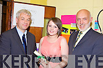 TOP STUDENT: Klara O'Sullivan who was presented with an award for Student of the Year in Transition Year at Presentation Secondary School, Milltown on Monday night, with l-r: Mark Hanly (TY Co-Ordinator) and Cormac Bonner (Principal).