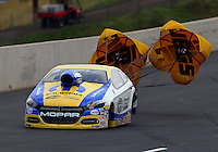 Jul. 19, 2014; Morrison, CO, USA; NHRA pro stock driver Allen Johnson during qualifying for the Mile High Nationals at Bandimere Speedway. Mandatory Credit: Mark J. Rebilas-