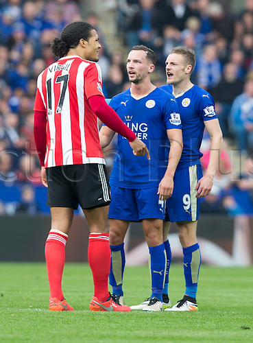 03.04.2016. King Power Stadium, Leicester, England. Barclays Premier League. Leicester versus Southampton.  Leicester City midfielder Danny Drinkwater talks to Southampton defender Virgil van Dijk after a clash between Southampton midfielder Jordy Classy and Leicester City striker Jamie Vardy.