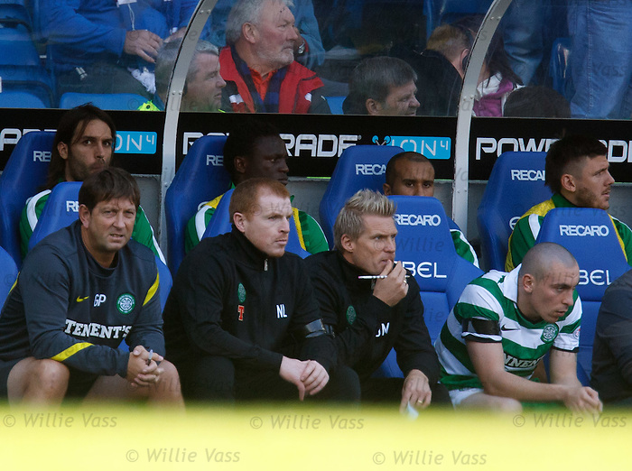 Neil Lennon looking on with Johan Mjallby and Scott Brown as Rangers pile on the pressure