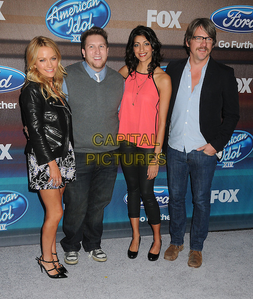 11 March 2015 - West Hollywood, California - Becki Newton, Nate Torrence, Meera Rohit Kumbhani, Zachary Knighton. American Idol Season 14 Finalists Party held at The District. <br /> CAP/ADM/BP<br /> &copy;BP/ADM/Capital Pictures