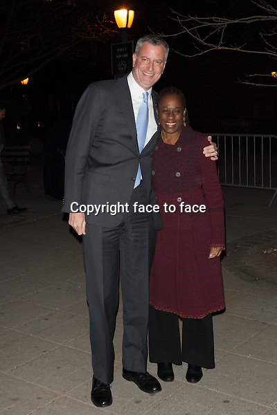 NEW YORK, NY - APRIL 23: Bill de Blasio and Chirlane McCray attend the Vanity Fair Party during the 2014 Tribeca Film Festival on April 23, 2014 in New York City.<br /> Credit: Corredor99/MediaPunch<br /> Credit: MediaPunch/face to face<br /> - Germany, Austria, Switzerland, Eastern Europe, Australia, UK, USA, Taiwan, Singapore, China, Malaysia, Thailand, Sweden, Estonia, Latvia and Lithuania rights only -