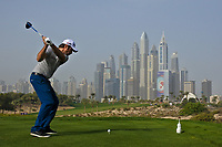 Victor Dubuisson (FRA) on the 8th tee during Round 2 of the Omega Dubai Desert Classic, Emirates Golf Club, Dubai,  United Arab Emirates. 25/01/2019<br /> Picture: Golffile | Thos Caffrey<br /> <br /> <br /> All photo usage must carry mandatory copyright credit (© Golffile | Thos Caffrey)