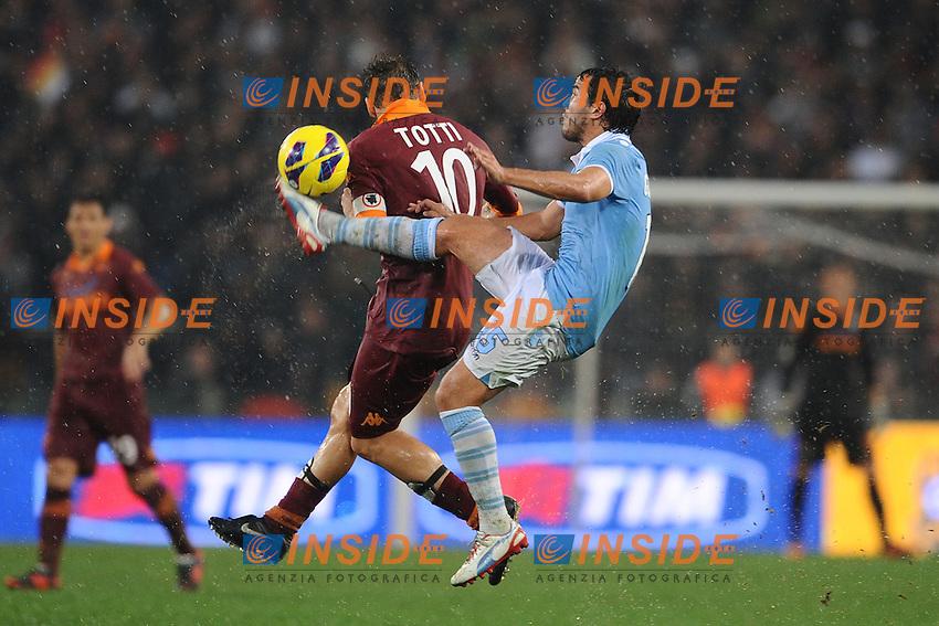 Alvaro Gonzalez (Lazio) Francesco Totti (Roma).11/11/2012 Roma, Stadio Olimpico.Campionato di Calcio Serie A 2012/2013.Derby.Lazio vs Roma.Foto Antonietta Baldassarre Insidefoto