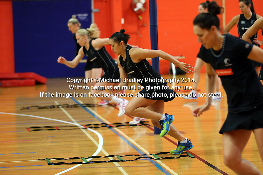 30.10.2014 Silver Ferns Liana Leota in action during training ahead of the second test match in Palmerston North. Mandatory Photo Credit ©Michael Bradley.