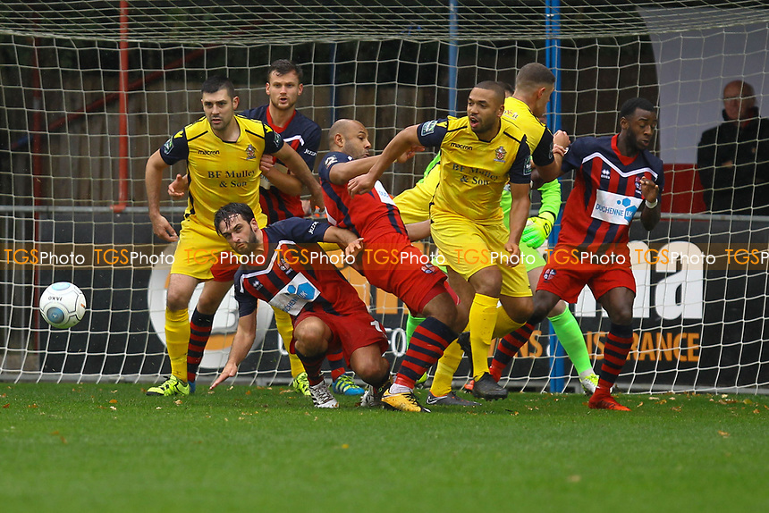 Hampton hold their line from another Hornchurch attack during Hampton & Richmond Borough vs AFC Hornchurch, Emirates FA Cup Football at the Beveree Stadium on 6th October 2018
