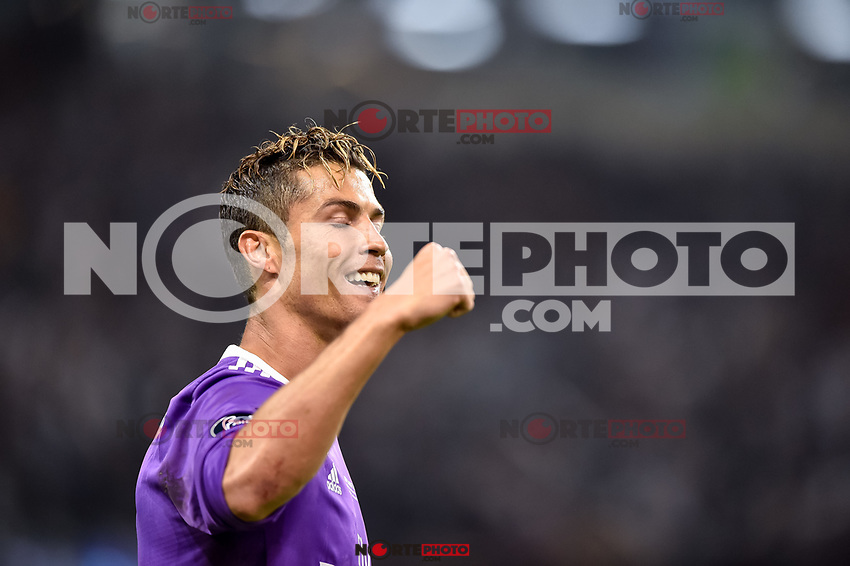 Cristiano Ronaldo of Real Madrid celebrates scoring during the UEFA Champions League Final match between Real Madrid and Juventus at the National Stadium of Wales, Cardiff, Wales on 3 June 2017. Photo by Giuseppe Maffia.<br /> Giuseppe Maffia/UK Sports Pics Ltd/Alterphotos /nortephoto.com